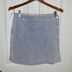 Mango Blue suede skirt with white buttons